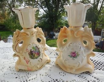 Candle Stick Holders Vintage, Vintage Candle Stick Holders, Cottage Chic Victorian, Ceramic Candle Stick Set, Vintage Home Decor,