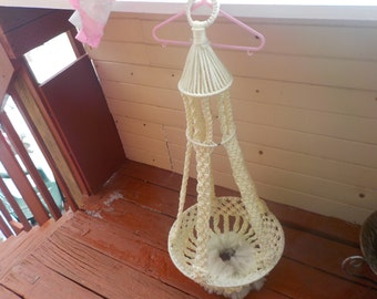 Vintage  Macrame Plant Hanger Large Size /38 Inches long, 15 1/2 Inches Across /Not Included in Coupon Discount Sale