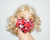 LOVE, Surgical face mask, medical mask, Hearts, Mothers day, LOVE and HEARTS, soft cotton, lined, washable, by Mouth Shutters