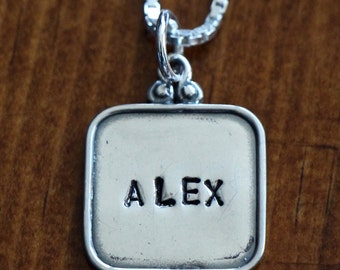 Personalized Charm Necklace- Sterling Silver- Hand Stamped- Vintage Raised Rim Charm- Childs Name Necklace- Grandmother's Necklace