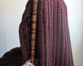 Chunky Claret Throw Blanket / Crochet Blanket / Wool Blend Throw / Chunky Blanket