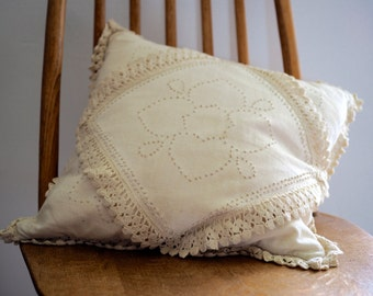Cream Cushion with Crochet Trim