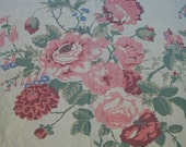 Vintage Eddie Bauer Flat Bed Sheet, Full-Double Bed Size, Gorgeous Multi-color Floral Print, with Roses