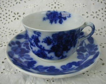 Antique French Flow Blue Teacup and Saucer, France, Marked K et G, Brush Stroke