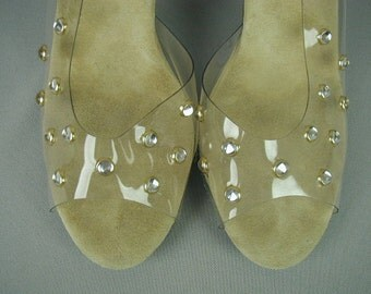 "Vintage Lucite High Heel Shoes, Studded with ""Jewels"", Sling Backs, Open Toe, Party Shoes,"