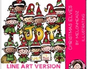 Christmas elves clip art - LINE ART