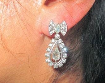 ON SALE Art Deco Earrings, Sterling Silver Rhinestone Bow, Bride Wedding, Vintage Dangle Screw Back