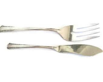1881 Rogers Oneida LTD Silver Plate Serving Pieces, Butter knife, Serving Fork, Edwardian