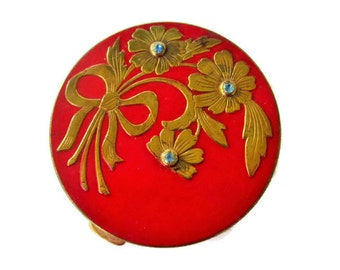 Art Deco Rex Fifth Ave Powder Compact, Red Enamel Brass and Sapphire Rhinestones, A Handful of Elegance