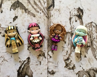 1 set of Monster High Polymer Clay Charm Bead Scrapbooking Embelishment Bow Center Pendant Cupcake Topper