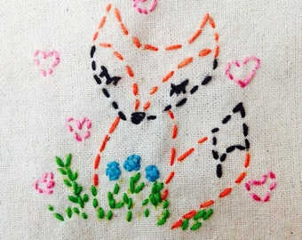 Embroidery Kit Little Woodland Fox Beginner Sewing Project