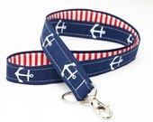 Nautical Swivel Clip ID Holder, ID Badge Wristlet, Cute Key Strap - white anchor in navy blue, red stripes