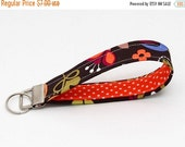 SALE 20% Key fobs fabric, key chain wristlet for her, keyring - bright floral with orange and white polka dots