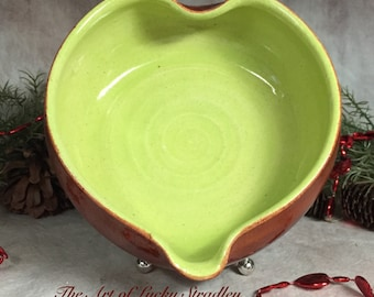 CERAMIC HEART BOWL - This unique bowl is an original, one of a kind, hand sculpted heart-shaped bowl, made of glazed stoneware clay.