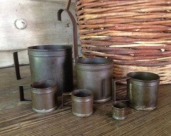 Rustic French Measuring Cups Dry Goods Measure Primitive Rustic French Farmhouse