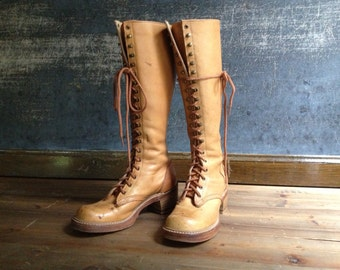 Vintage Sienna Brown Leather Tall Lace Up Boots ~ Size 7 ~ 7.5 US