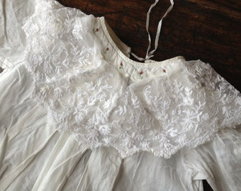 Antique Heirloom Christening Gown Baby Dress Edwardian Fine Baptiste Cotton Embroidery Lace Roses Country Handmade