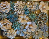 RESERVED DEPOSIT on a CUSTOM Made Bridal Brooch Bouquet Aqua Turquoise Blue and Ivory Bridal Broach Bouet