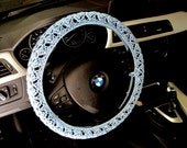 Lacy Crochet Steering Wheel Cover, Wheel Cozy - charming blue (CSWC 9A)