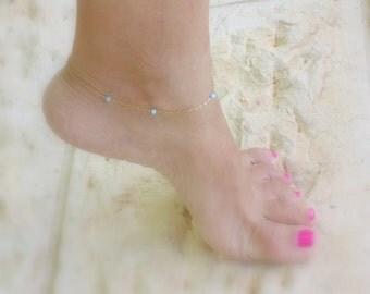 Opal Anklet, Gold Opal Ankle Bracelet, Delicate Gold Anklet , Thin chain Ankle Bracelet, Minimalist  ,Blue opal Anklet , white opal Anklet