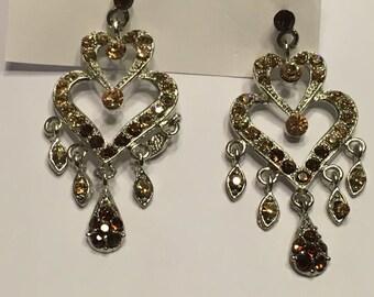 set of Rhinestone Chandelier pieced Earrings, 50 mm long (A11)