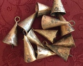 One Dozen Two Inch Conical Indian Brass/Tin Bells