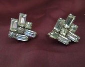 Vintage Rhinestone Earrings, Screw Back Type, Excellent Condition.