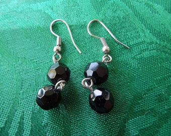 Vintage Dangle Earrings, Black Stones, Hook Type, Excellent Condition.
