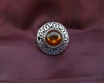 Vintage Silver Ring, Amber Stone, Stamped 925, Size 8.  Nice condition