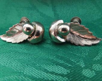 Vintage Screw Back Earrings.  Signed Alice, Silver Toned Leaves
