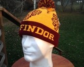 Wizard Cuff Pom Beanie: Yellow and Burgundy, Lion, Large