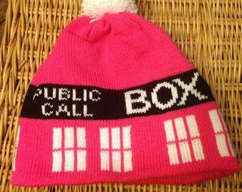 Pink Police Box Pom Pom Beanie Hat - Large
