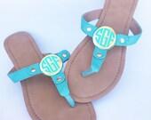 Monogrammed Sandals, Monogrammed Thong Sandals, Flip Flops, Monogram Sandals, Personalized, Monogrammed Shoe, Bridesmaids Gift, Mint, Gold