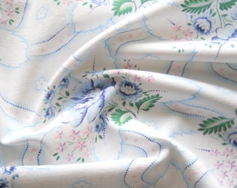 vintage french floral fabric for patchwork quilting fabric  antique fabric  blue roses french fabric 179