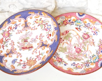 2 antique french Sarreguemines Minton saucers french vintage saucers antique china collectible plates collectible china