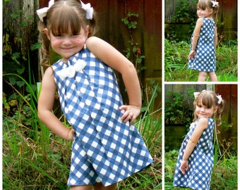 Tunic Dress PDF Sewing Pattern - The Lily, pleated front, pleated front detail, video instructions, toddler, teen, tween, dress, fashion top