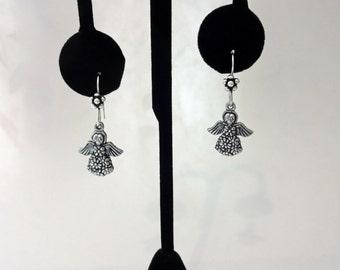 Free Shipping - Antique Silver Color Flower Angel Pierced Earrings