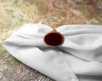 Vendome Dark Red (Jasper?) Stone Ring - Vintage 1960s