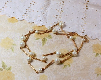 Avon Faux Pearl and Gold Tone Bar Necklace - Vintage
