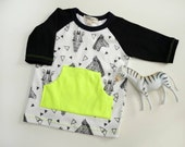 Zebra Party 3/4 Sleeve Raglan Tee for Infants or Toddlers *Pocket is an add on