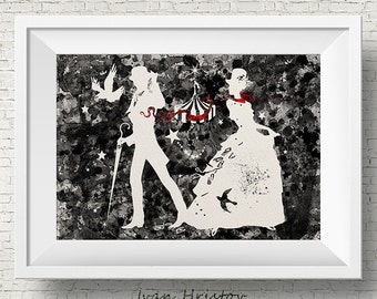The Night Circus Black and White Watercolor Painting Art Print Wedding Gift Wall Decor Nursery Art Wall Hanging Erin Morgenstern