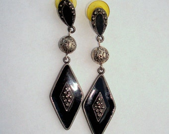 Vintage Silver Pewter Marcasite Black Enamel Antiqued Etched Rose Beads Long Dangle Earrings