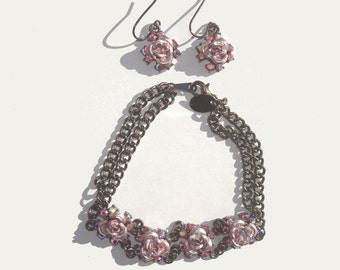 90s Revival Icing Gunmetal Lavender Aluminum Roses Colored Rhinestones Bracelet Earrings Set