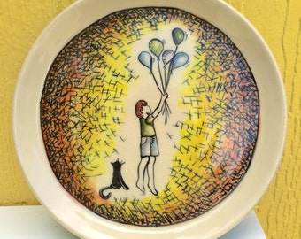 """7"""" Ceramic Cake Plate- Hand Painted Ceramic Plate, Special Occasion Plate to CelebrateBoy with Balloons and Cat,"""