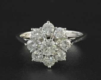 50's extra fine 1.45 Ct G VVS diamond vintage daisy ring
