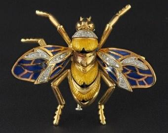 Sensational bumble bee diamond plique a jour large vintage brooch