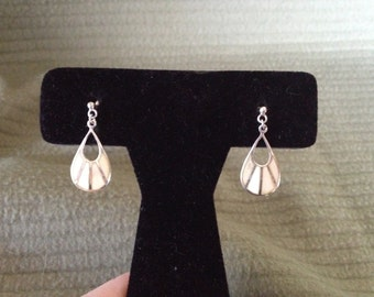 Vintage 925 Sterling Silver Dangle Earrings, 1'' Long