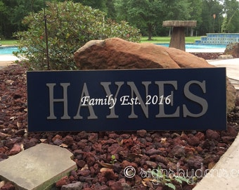 Family Name Sign, Wedding Sign with Year Established, Names or Saying ~ SignsbyDenise