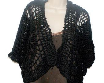 Black Vest, Cotton Vest, Womens Vest, Crochet Black Sweater, Plus Size Shrug, XL Capelet, Ladies Overtop, Womens Sweater, Black Jacket