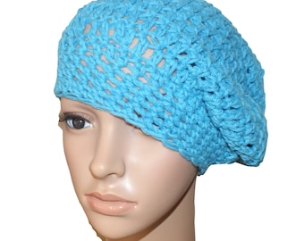 Cotton Crochet Hat, Womens Beret, Blue Tam, Spring Fashion Hat, Summer Hat, Crochet Beret, Spring Beanie, Cotton Slouch Hat, Womens Cap